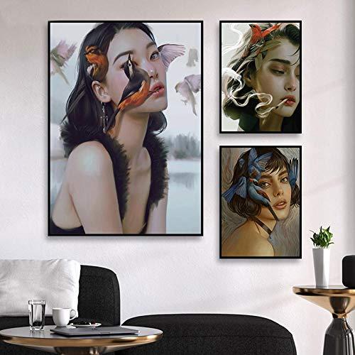 Vogel Melancholie Frau Poster Kunstdruckt abstrakte Leinwand Bild Moderne Wand Bilder Bild Wohnzimmer Schlafzimmer Wanddekor Bilder 40 × 50 cm 20 × 30 cm × 2 Rahmenlos