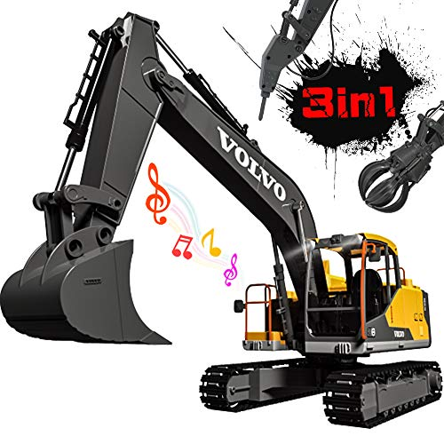 DOUBLE E Volvo RC Excavator 3 in 1 Remote Control Truck 17 Channel 1/16 Scale Full Functional with 2 Bonus Tools Remote Control Excavator Construction Tractor