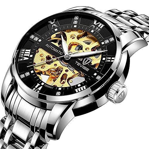 Reloj de pulsera automático para hombre con esqueleto, militar, negro, acero inoxidable, resistente al agua, diseño analógico y moderno, steampunk., negro plateado,