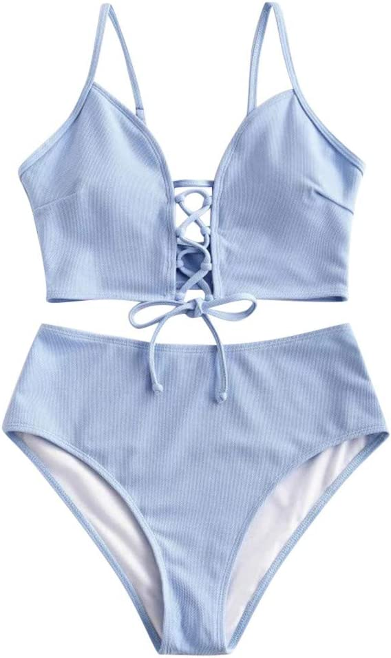 Euone_Clothes Women's Sexy Bikini Set Two Piece Lace-up Floral Leaf Tankini Swimsuit
