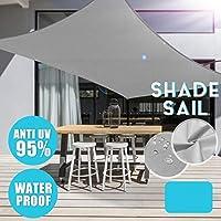 LWY グレー95%UVブロック長方形サンシェードセイル屋外ガーデンパティオヤードパーティー防水スクエア日焼け止めオーニングキャノピー、4本のロープ(3x5m)