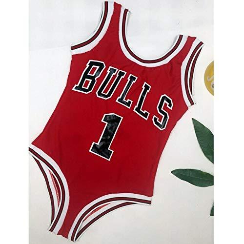 DECTN Traje de baño de una Pieza Body de Mujer Bull Letter Impreso Sport Monokini Traje de baño Ropa de Playa Traje de baño de Cintura Alta W9509 S W9509-A