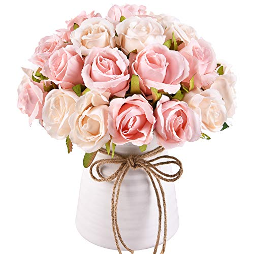 Krelymics 2pcs Künstliche Rosen Künstlicher Rosenstrauß kunstblumen with 24 Rosenköpfe Gefälschte seidige Rosenblüten für DIY Hochzeitssträuße Mittelstücke Braut Party Rosa Künstliche Rosen