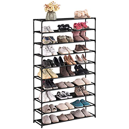 TECHMILLY 10 Tiers Shoe Rack Organizer 50 Pairs Non-woven Fabric Space Saving Stackable and Durable Shoe Storage Shelf Black