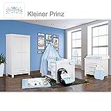 Babyzimmer Enni in weiss 10 tlg. mit 2 türigem Kl. + Textilien von Kleiner Prinz in Blau