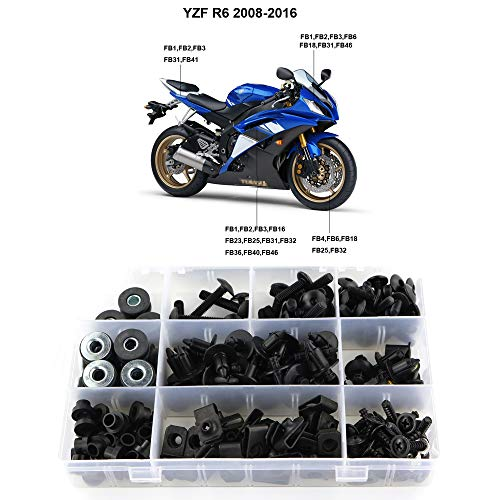 Xitomer Full Sets Fairing Bolts Kits, Fit for Yamaha YZF-R6 2008 2009 2010 2011 2012 2013 2014 2015 2016, Mounting Kits Washers/Nuts/Fastenings/Clips/Grommets (Matte Black)