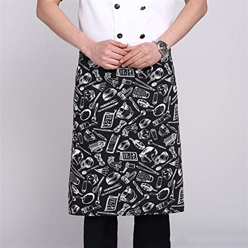 CHEF HIGHT-APRON Hotel Restaurant Kitchen Chef Delantal (Color : Tableware pattern, Size : One size)
