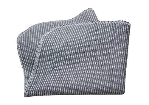 Taschentuch aus Bio-Baumwolle, 3 Stück, Stofftaschentuch, wiederverwendbares Tuch, Mehrweg, waschbar, Damen, Herren, Ersatz Papiertücher, grau anthrazit Streifen, Leinenoptik