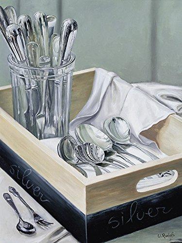 Artland Qualitätsbilder I Bild auf Leinwand Leinwandbilder Wandbilder 60 x 80 cm Ernährung Genuss Geschirr Besteck Malerei Grau B9DP Silberware I