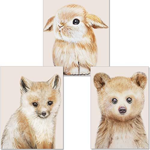artpin® Bilder Kinderzimmer Deko - Poster Baby Zimmer Wandbilder Waldtiere Bear Hase Fuchs P58
