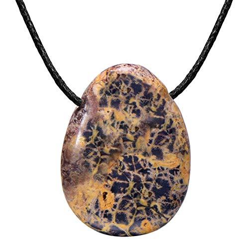 Morella Collar para Mujer 80 cm y Colgante de Gema en Forma de Gota Diaspro Leopardo en Bolsa de Terciopelo