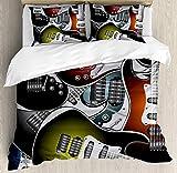 Juego de funda nórdica para fiesta Popstar, pila de coloridas guitarras eléctricas gráficas Instrumentos de cuerda de música rock, juego de cama decorativo de 3 piezas con 2 fundas de almohada, coral