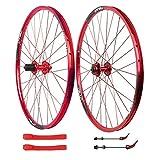 ns Set Ruote Bici 26 Pollici Ruote Ciclismo per Mountain Bike MTB Freno Disco 7 8 9 10 velocità Card Hub Cerchio Lega Doppia Parete Anteriore Posteriore (Color : Red)