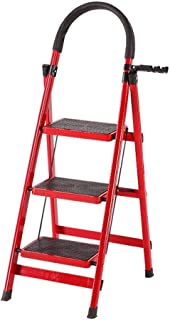 Red Folding Ladder Project Portable Movable Ladder Multi-Function Thickening Steel Widening Anti-Skid Pedal Pad Indoor Ladder (Size : 3 Step Ladder)