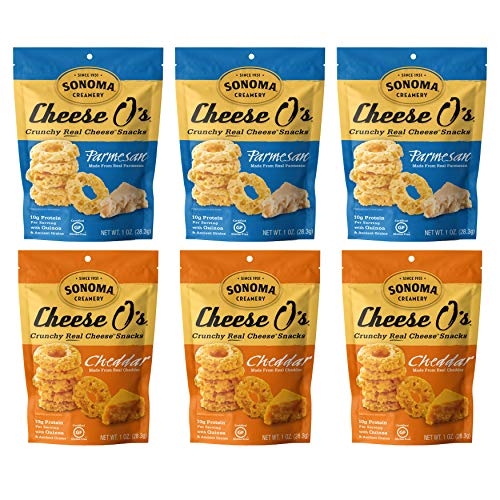Sonoma Creamery Cheese O's, 2 Flavor Variety Pack, Cheddar and Parmesan, 1 Ounce Bag (Pack of 6)
