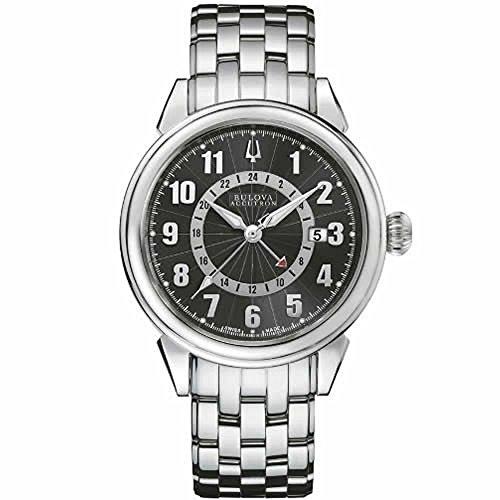 Accutron Bulova Gemini Schwarz Zifferblatt Edelstahl Stahl Mens Watch 63B014