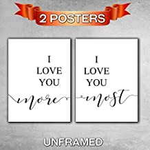 I love you more, I love you most, Unframed, 11 x 14 Inch print, Minimalist Art, Typography Art, Bedroom Wall Art, Romantic Gift, Home Wall Art, Poster