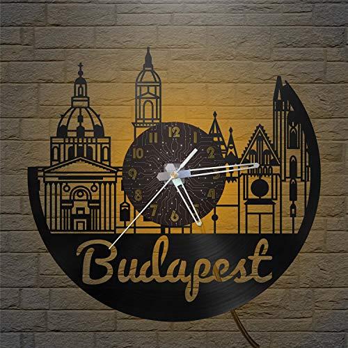 Budapest City - Reloj de Pared LED con Disco de Vinilo de 12 Pulgadas, Reloj de Pared de Vinilo para Cocina, hogar, Sala de Estar, Dormitorio, Escuela (C), con LED para el día de la Madre, Padre, Cum