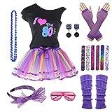 9 Piece 80s Pop Party Diva Teen Costume Accessories Set 7-16 Years (Purple, 8-10 Years)