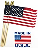 GIFTEXPRESS Pack of 24, Made in USA 12x18 Inch US Stick Flags with Spear Tip, 12in x18 inch Handheld American Stick Flags, Grave Marker American Flags, Cemetery Flags on 30' Dowel with 2''gold Tip