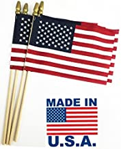 GIFTEXPRESS Pack of 24, Made in USA 12x18 Inch US Stick Flags with Spear Tip, 12in x18 inch Handheld American Stick Flags, Grave Marker American Flags, Cemetery Flags on 30
