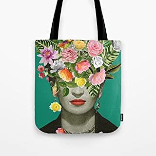 Women's Frida Floral Cotton Linen Tote Bag 18 x 18 Inch Durable Shopping Bag