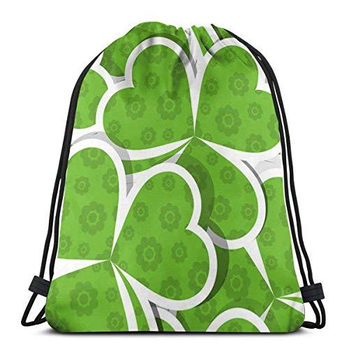AEMAPE Bolsas con cordón Mochila con Forma de corazón Verde Bolsas con Cuerdas de tracción a Granel Almacenamiento Deportivo Gimnasio para niñas Mochila de béisbol al Aire Libre