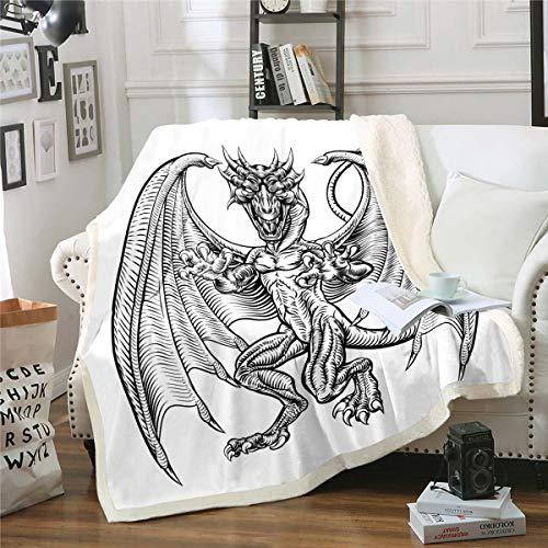Loussiesd - Manta para sofá de viaje con diseño de animales de la selva, diseño de dinosaurios de Sherpa y dragón, manta de felpa para bebé, 76,2 x 101,6 cm