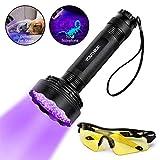 Linterna UV - YOUTHINK 100 LEDs 395 nm Linterna Ultravioleta, Detector de orina escorpiones y autenticación de moneda para uso en interiores y exteriores