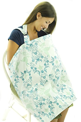 Nursing Cover - Breathable Cotton Breastfeeding Apron – Blue Green Floral Design...