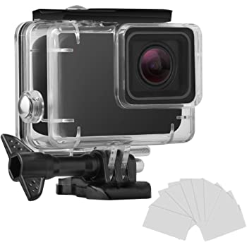 FINEST+ Waterproof Housing Shell for GoPro HERO7 White/Silver Diving Protective Housing Case 45m with Anti Fog and Bracket Accessories for Go Pro Hero 7 White/Silver Action Camera