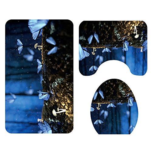 L.W.S alfombra de baño Ducha Escena de la noche Mariposa Patrón de piso Cuarto de baño Asiento de inodoro Asiento de tres piezas Alfombra de tres piezas La absorción de agua no se desvanece Versátil C