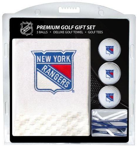 Team Golf NHL New York Rangers Gift Set Embroidered Golf Towel, 3 Golf Balls, and 14 Golf Tees 2-3/4