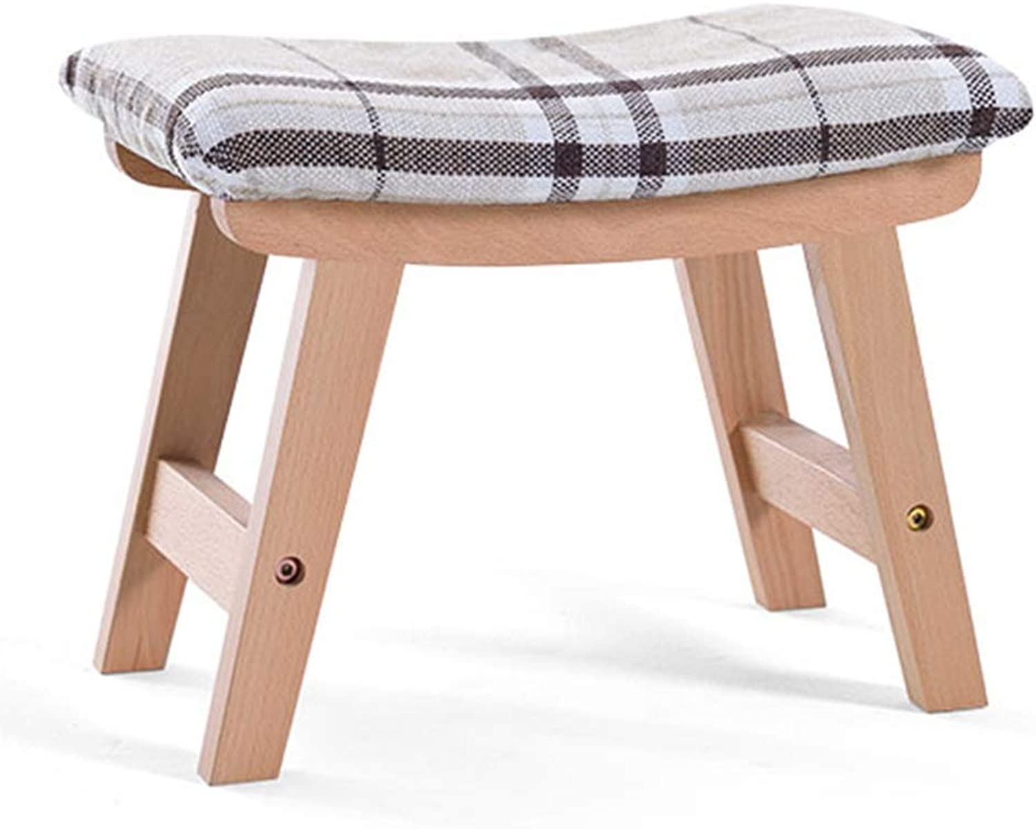 Stool Footstool Solid Wood Sofa Stool Living Room Coffee Table Stool Small Bench Change shoes Bench Chair Low Stool GAOFENG (color   Striped+Natural Wood, Size   38  26  29cm)