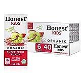 Honest Kids Super Fruit Punch, Organic Juice Drink, 6 Fl oz Juice Boxes, Pack Of 40, Fruit Punch, 6 Fl Oz (Pack of 40)