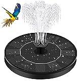 Gaocunh Fuente solar con 4 boquillas para baño de pájaros, bomba de agua con energía solar, flotante, de pie, 1 W, libre para jardín y estanque