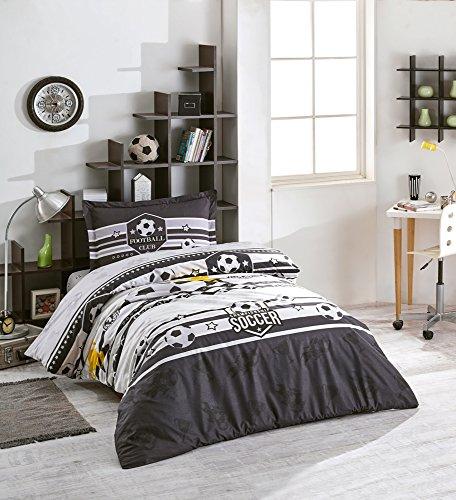 TI Home Clasy Forza V3 Black White Soccer Duvet Cover Set, 100% Cotton Ranforce Fabric Single Size 3-Pieces Bedding Set