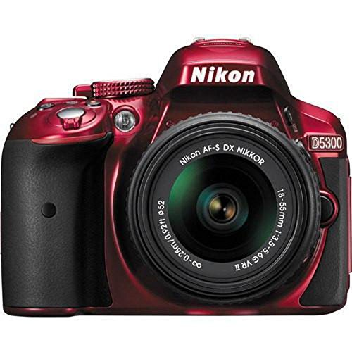 Nikon D5300 24.2 MP CMOS Digital SLR Camera with 18-55mm f/3.5-5.6G ED VR II Auto Focus-S DX NIKKOR Zoom Lens (Red) - (Renewed)