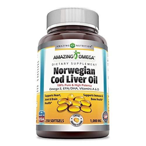fish liver oils Amazing Omega Norwegian Cod Liver Oil 1000 Mg, Softgels (Orange, 250 Softgels) (Non-Gmo,Gluten Free)