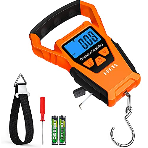 HEETA Waterproof Fish Scale Digital with Backlit LCD Display, 110lb/50kg Portable Hanging Scale Fishing Scale for Home and Outdoor, Measuring Tape and 2 AAA Batteries Included (Orange)