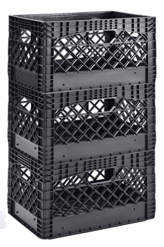 Muscle Rack PMK24QTB-3 24 Quart 3 Pack Black Heavy Duty Rectangular Stackable Dairy Milk Crates, 11' Height, 19' Width