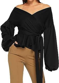 Women Fashion Long Sleeve Strapless V-Neck Solid Lantern Sleeve Bow Belt Bandage Tops Sweatshift Blouse Tunic