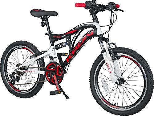 KRON ARES 4.0 Vollgefedertes Kinder Mountainbike 20 Zoll ab 6, 7, 8, 9 Jahre   21 Gang Shimano Kettenschaltung mit V-Bremse   Kinderfahrrad 14 Zoll Rahmen Vollfederung   Schwarz Rot