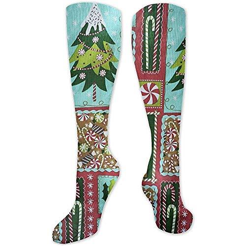 Weihnachtsfeiertags-Bonbon-personalisiertes Muster-hohe Socken für Männer und Frauen Bestes laufendes reisendes Radfahren