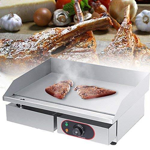 2200W Gril Cuisson Viande Plaque Chauffante Electrique en Acier Inoxydable pour Cuisson Oeufs, Tartes, Steak, Usage Domestique et Commercial 55x45x23cm