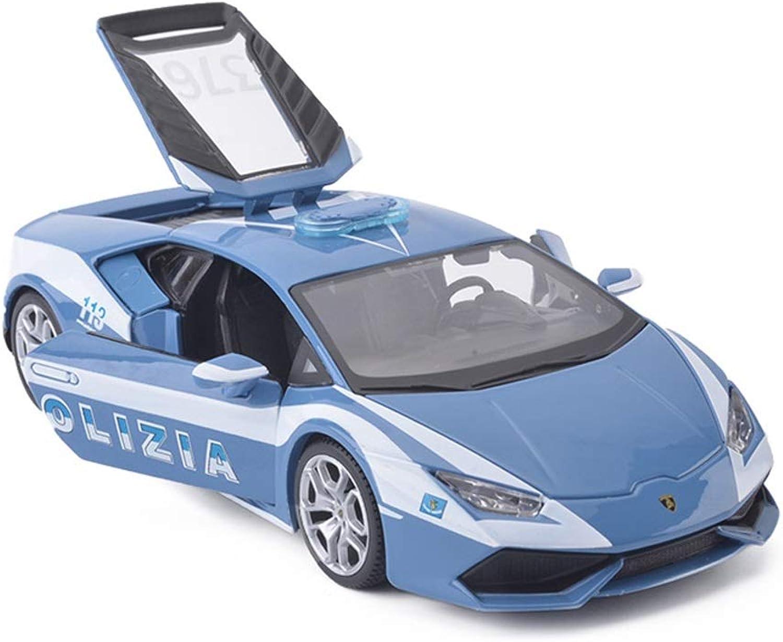 Lingling DieCasting Car Sports Car Alloy Car Model 1 24 Ratio Car Model Lamborghini Huracan LP610 Police car Model Kids Toys Simulation Decoration (color   bluee)