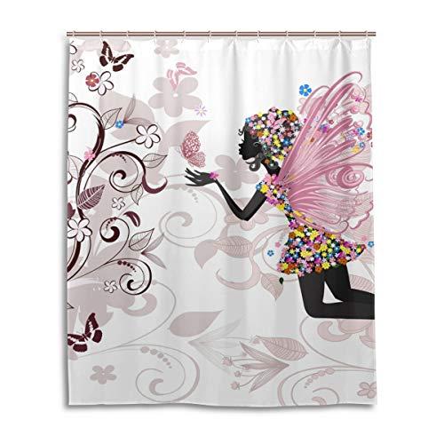 JSTEL Dekorativer Duschvorhang mit Feen-Druck, 100prozent Polyester, Duschvorhang 60 x 72 Zoll für Haus, Bad, Duschvorhang dekorativ