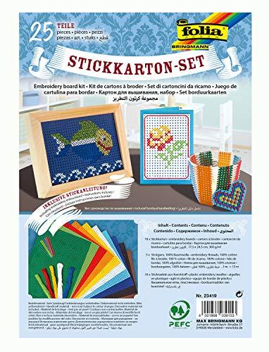 folia 23419 - Stickkarton - Set, 25 Teile, mit Stickkarton, Sticknadeln, Stickgarn und Anleitung
