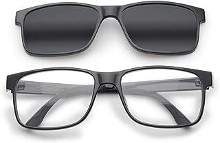 Livho[2 Functions] Blue Light Blocking Computer Glasses,Sunglasses Clip On for Women Men,Anti Glare Filter Polarized UV 400 Lens(Black Frame + Black Lens)