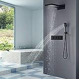 DAMO & GUYAN - Juego de grifos de ducha de lluvia y cascada de lluvia con panel termostático, grifo de válvula mezclador con ducha de mano, color negro